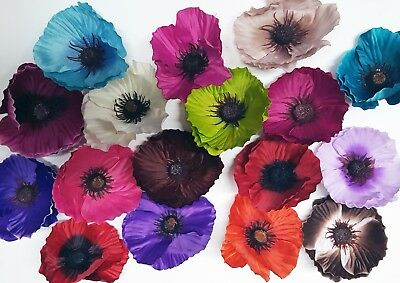 Artificial Single Silk Poppy Flower Heads Only Crafts Decorations Displays 12cm