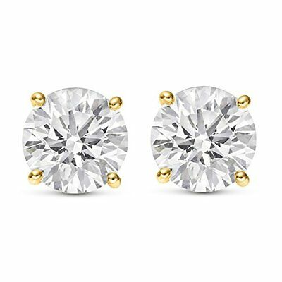 0.60 CTW ROUND CUT NATURAL DIAMONDS STUD EARRINGS 14K YELLOW GOLD $750 Value