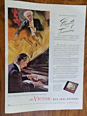 1945 RCA Victor Red Seal Records Ad  Horowitz & Toscanini Together Again