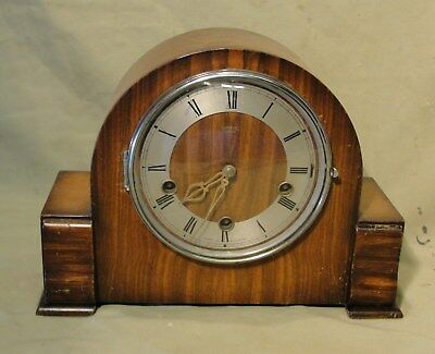 ART DECO WESTMINSTER CHIMES MANTEL CLOCK with its key in jolly nice working cndt