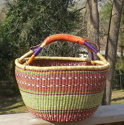 Fair Trade Large Bolga Basket with Leather Handle