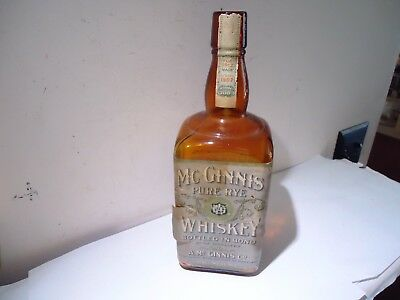 Antique Pure Rye Whiskey Bottle Mcginnis 1912 100 Proof Empty Paper Label