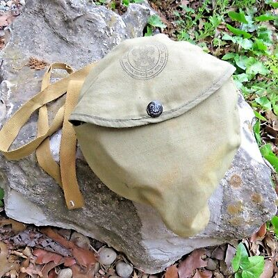 Vintage Official Boy Scout Camping cook out tin mess kit Complete with Carry Bag
