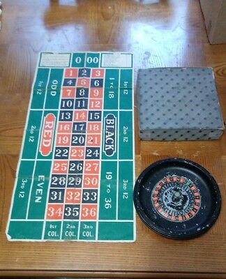 Vintage Metal Roulette Wheel and Gaming Board