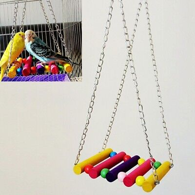Pet Bird Parrot Budgie Cockatiel Cage Hammock Swing Toys Play Hanging Toy 61B5