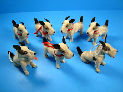 Lot of 7 Vintage Terrier Dog Figurines*Furry Fabric Covered*Christmas Ornaments