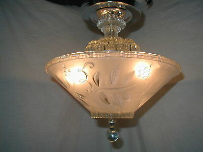 Vtg Antique 30S Art Deco Blush Pink Shade Chrome Light Fixture Chandelier
