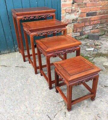 Antique Style Carved Hardwood Chinese Oriental Quarteto Nest Of Four Tables