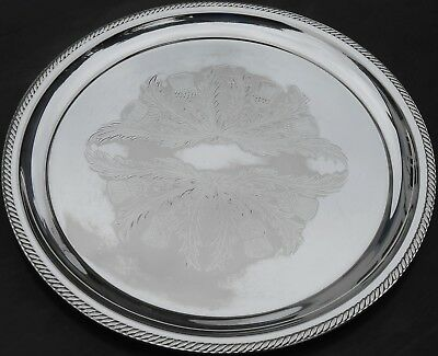 Vintage Large Drinks Tray - Chased Thistle Design - Silver Plated