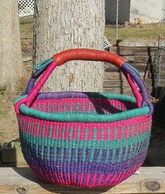 Fair Trade Large Bolga Basket Turquoise,  Hot Pink & Purple w'/Leather Handle