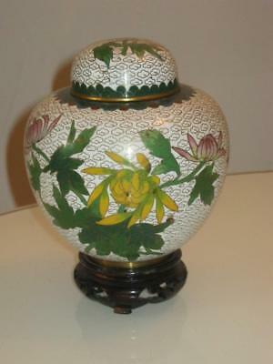 Stunning Chinese Cloisonne  Lidded Jar & Stand
