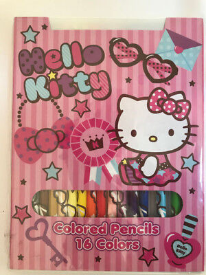 Hello Kitty Colored Pencils New Box of 16 Special Sanrio Colors Collectible