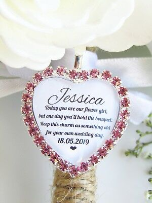 Pink Bouquet Charm Various Roles Diamanté Something Old Wedding Gift Keepsake