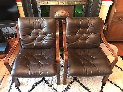 Mid Century Pair Lounge Chairs X 2 - Danish Antique Vintage Brown Faux Leather