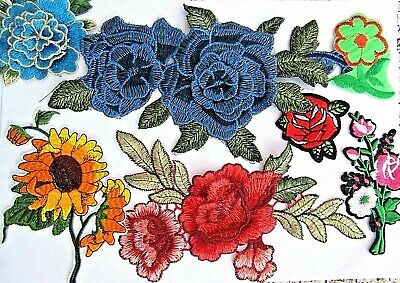 Selection Of Sew Iron On Silk Rose Flower Embellishments Motif Patch Appliques