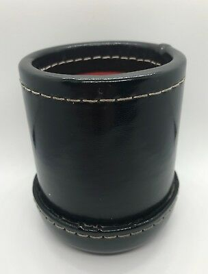 Genuine Black LEATHER DICE CUP BOX Nice Quality - Ribbed Inside Lining
