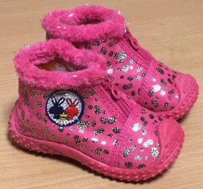 Girls Boots Infant ShoeS Uk 1 Boots Trainers Side Zip Pink Ankle Boots Gift