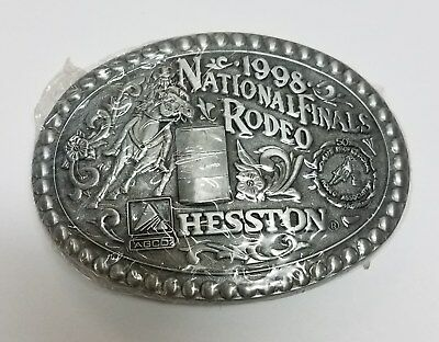 1998 Hesston Nfr Women's Barrel Racing 50Th Anniversary Buckle - Free Shipping