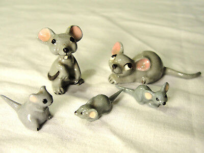 5 Hagen Renaker Mice Mouse Family Vintage Miniature Figurines