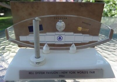 1964 World's Fair Bell System PAVILION & Telstar Solar Cell Transistor in Lucite