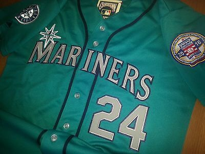 buy online 0ed85 f5951 New! GREEN Seattle Mariners #24 Ken Griffey Jr. Throwback 2patches sewn  Jersey