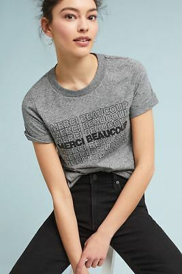 19bc3ccca NWT Anthropologie Sol Angeles MERCI BEAUCOUP Graphic Tee Shirt M Gray