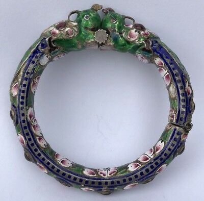 Antique Old Chinese Export Silver Enamel Dragon Multi Jeweled Bangle Bracelet