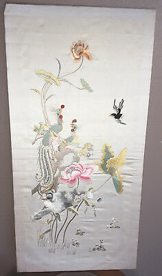 1900's Qing Chinese Embroidered Silk Panel, Pheasants, Birds and Flowers