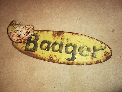 Vintage Badger Farm Sign Barn Rusty Tool Crops Harvest Cow Country Hen Fence Old