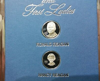 The President and First Ladies Ronald and Nancy Reagan Silver Proof Mini Medals