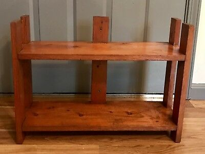 Vintage Rustic Bookshelf Bookcase Two Tier Shelf Shelves Solid Wood Rare 17.5x24