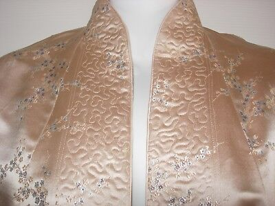 1950 Vintage YING TAI CO. Chinese Silk Jacket Pink Cherry Blossom Rose Gold 36