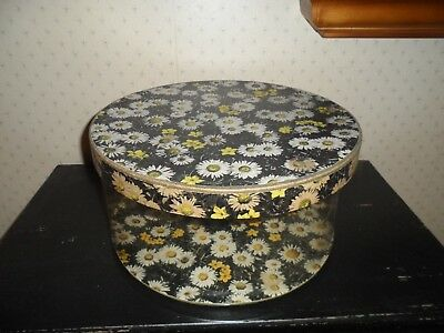 Vintage Hat Box Black, White, Yellow Daisies and Forsythia cardboard and plastic