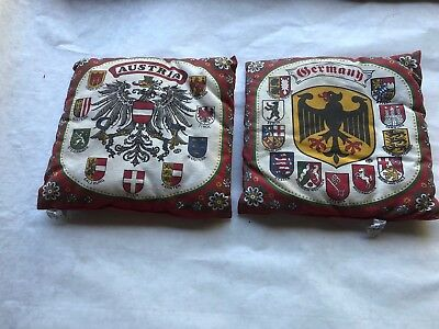 "Nice Vintage Souvenir ""Kolf""throw Pillows Austria/Germany Folk Art Square 10"""