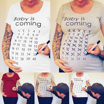 Pregnant Womens Maternity Printing T-shirt Short Sleeve Tops Pregnancy Blouse