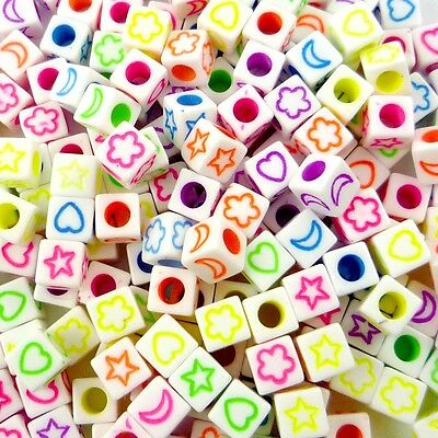 100pcs Flower Moon Stars Square Plastic Beads Lot Craft/Kids Jewelry Making