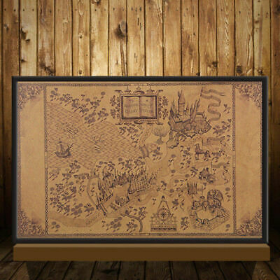 Retro Harry Potter Magic Old World Map Brown kraft Paper Wizarding Poster 33x52