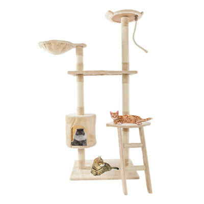 "60"" Cat Tree Condo Furniture Scratch Climb Play House Post Pet Gym Tower Beige"