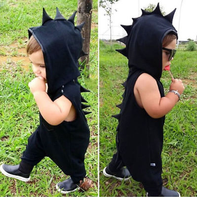 Canis Toddler Kid Baby Boys Dinosaur Romper Jumpsuit Hat Clothes Outfit Playsuit