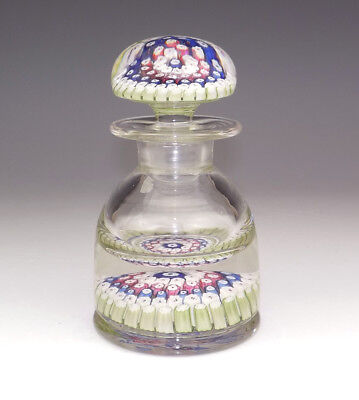 Antique English Millefiori Glass Paperweight Ink Bottle - Inkwell - Beautiful!