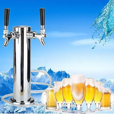 2 Tap Stainless Steel Draft Beer Tower Kegerator Dual Chrome Faucets.New!!1