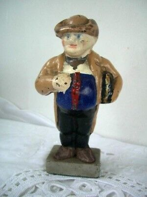 Victorian Cold Hand Painted  Cast Iron man with big belly 14cms High