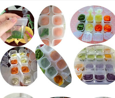 16pcs Baby Kids Weaning Food Ice Freezing Cubes Tray Pots Storage Containers Box