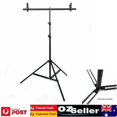 T Adjustable Photography Support Stand + White PVC Backdrop Background + 3 Clip