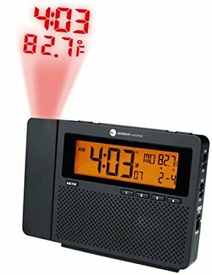 Ambient Weather ClearView Controlled Projection Alarm Clock with Indoor Clocks