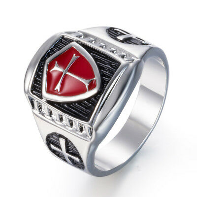 HIGH QUALITY Silver Armour Shield Cross Men's Ring Band Biker Punk Sword Gothic