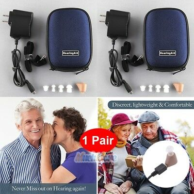 2Pack Rechargeable Digital Mini In Ear Hearing Aid Adjustable Tone Amplifier USA