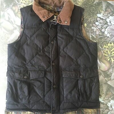 Men's BARBOUR Down and feather wax Gilet Vest Grey Size M Outdoors country