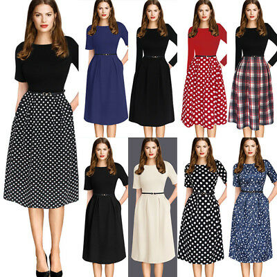 Womens Vintage Polka Dot Pinup Wear To Work Casual A-Line Skater Dress 2127