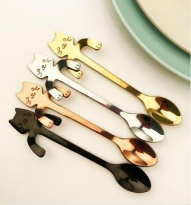 Stainless Steel Cat Coffee Spoon Dessertspoon Food Grade Ice Cream Teaspoon LG